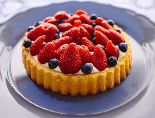 Tarta de avena y espelta con frutas